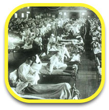 People lie in beds durring the 1918 Flu