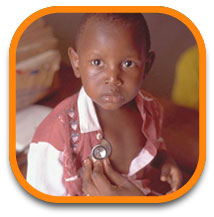 boy with malaria with stethoscope on chest
