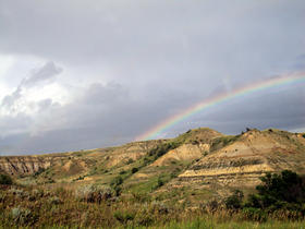 Hell Creek, MT, with rainbow