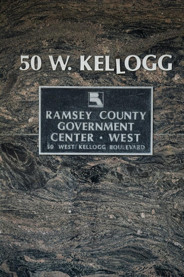 """<strong>Morton gneiss</strong><br />You can start your safari a mere one block east of the Museum! The Ramsey County West Building is covered with Morton gneiss (pronounced """"nice""""). At 3.6 billion years old, this is some of the oldest rock in the world!"""