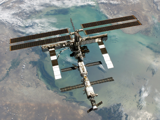 international space station pictures. A view of the ISS from above: