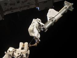 Spacewalker: Another image of Garrett Reisman during his seven-hour, 25-minute spacewalk.