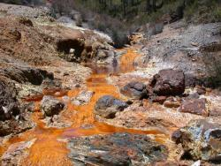 Acid drainage from a mine: Very bad for the environment.