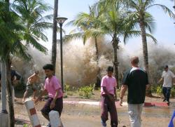 Tsunami in Thailand: An actual photo of the tsunami taken December 26, 2004 in Ao Nang, Krabi Province, Thailand. The motion picture The Impossible (2012) gives a very accurate depiction of the devastating effects of the natural disaster.