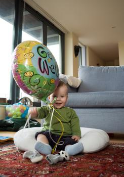 This kid is sitting on a fortune!: That balloon will put him through college, assuming he doesn't blow it all first on candy and blackjack.