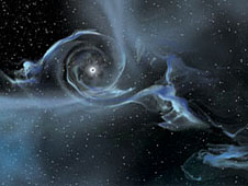 Black hole: An artist's drawing shows a large stellar-mass black hole pulling gas away from a companion star.