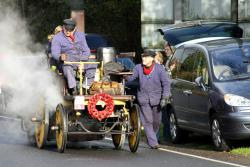 Put, put, put: The British Challenge car is a bit faster than this 1896 model.