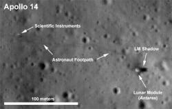 Apollo 14's remains: Even higher resolution images will be coming from the LRO, when it enters a lower orbit soon.