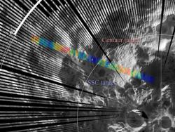 Diviner Observes LCROSS Impact: The locations of the Diviner LCROSS impact swaths overlain on a grayscale daytime thermal map of the Moon's south polar region.