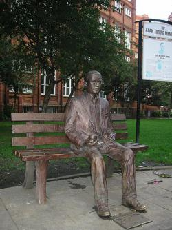 A memorial statue of Alan Turing