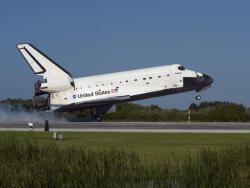 Homecoming for Atlantis: Space shuttle Atlantis' main gear touched down on Runway 33 at the Shuttle Landing Facility at NASA's Kennedy Space Center completing a 12-day mission to the International Space Station. This is the last planned flight for Atlantis.