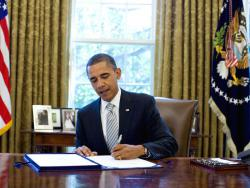 President Signs NASA Authorization Act: President Barack Obama signs the National Aeronautics and Space Administration Authorization Act of 2010 in the Oval Office, Monday, Oct. 11, 2010.