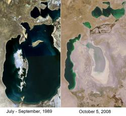 The Aral Sea: Once one of the largest inland bodies of water, now a sight to chill a sailor's bones.