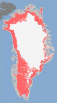 43 percent melt: This NASA satellite image from July 8 shows 43 percent of the Greenland ice sheet was melting.