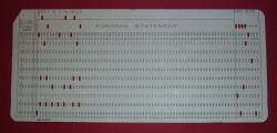Fortran punch card: I remember punching out code on hundreds of these cards.