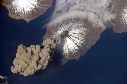 Volcanic ash aloft: This aerial photo shows a volcano in Alaska spewing ash into the air in 2006.