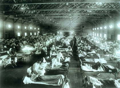 A military emergency hospital at Camp Funston, Kansas, during the 1918 flu epidemic