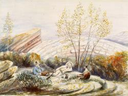 Professor Marsh visits Como Bluff: Yale paleontologist, O. C. Marsh (right), lunches with his field workers, William Harlow Reed (center), and Edward Ashley (left) during his 1879 visit to the quarries at Como Bluff. Painting by Arthur Lakes.