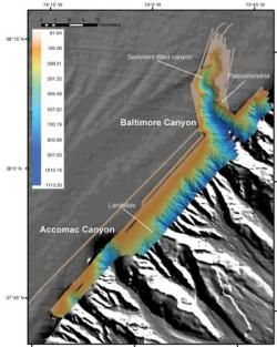 Bathymetric Map of Continental Slope 150 km Southeast of New Jersey: High-resolution multibeam bathymetry collected in and between Baltimore and Accomac Canyons during the June 2011 cruise. Color key at left shows depths (in meters).