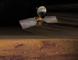 MRO Aerobreaking: Artist's concept of the Mars Reconnaissance Orbiter in its aerobraking stage. Image courtesy: NASA/JPL.