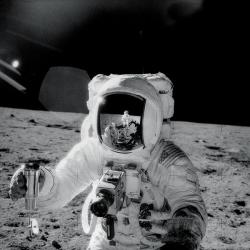 Spacey artists: Alan Bean was the subject of an artistic photo taken on the moon in 1969. The former NASA astronaut now creates space art.