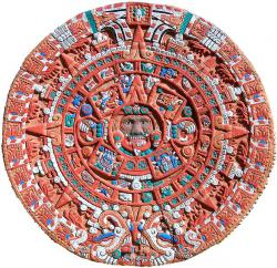 The Sun Stone calendar would have been brightly painted when it was originally displayed in the Aztec capitol, Tenochtitlan.