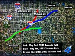 Oklahoma tornado paths: Three tornadoes have taken vary similar courses near Oklahoma City in the past 15 years.