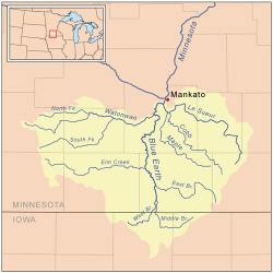 Le Sueur River Map: Map of the Le Sueur and Minnesota Rivers.