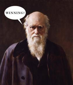Charlie Darwin: The schoolbook victory in Texas obviously makes him feel like Charlie Sheen.
