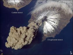 Astronaut photo of ash cloud from Mount Cleveland, May 23, 2006: Image of Mount Cleveland from a 2006 eruption.