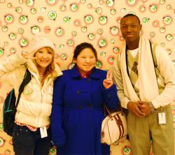 Podcast Crew members Annie, Mai, and Alonzo at the Walker Art Center