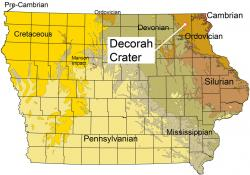 Site map of Decorah crater