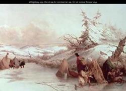 Native ice fishing scene: This classic painting by Seth Eastman depicts how Native Americans ice fished hundreds of years ago by using lures, spears and small dark houses.