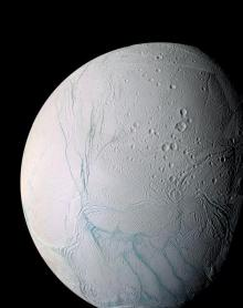 Enceladus: This is an enhanced color view of Saturn's moon Enceladus.  The image is a mosaic was created from 21 false-color frames taken by the Cassini spacecraft.  Image courtesy NASA/JPL/Space Science Institute.