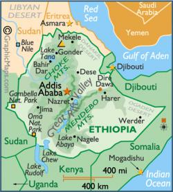 map of Ethiopia: the Middle Awash rift area runs northeast from Addis Ababa