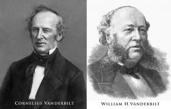 "The Commodore and son: Cornelius Vanderbilt, aka ""The Commodore"" and patriarch of the family, constantly berated his oldest son when William was growing up, referring to him as incompetent and a blockhead. It wasn't until later in life that William proved him wrong, finally convincing his critical father that he was capable of taking on the family railroad business and other interests. William subsequently inherited the bulk of his father's millions and doubled it during his own lifetime."