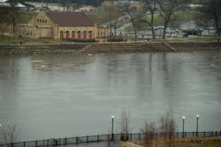 It may be high and fast...: ...but (as of today) the Mississippi at St. Paul is still in a bankfull state.