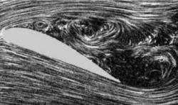 Fluid flow separation: The fluid flow becomes detached from the surface of the object, and instead takes the forms of eddies and vortices.