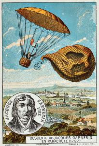 Descent of Jacques Garnerin with a parachute (1797)