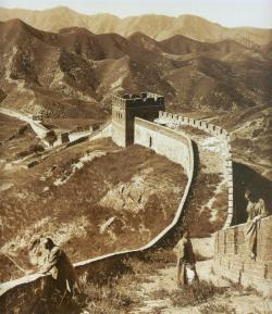 Great Wall of China, one of the world's New Seven Wonders.: Public domain photograph, c. 1907.