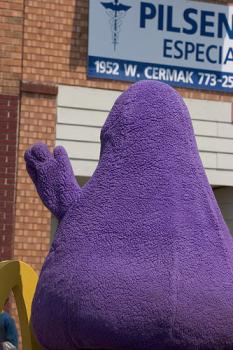 Join the fight!: Grimace is doing his part.