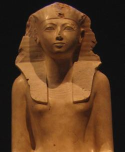 Rule like an Egyptian: This statue of Hatshepsut can be seen as at the Metropolitan Museum of Art in New York. She posed as a man to rule as an Egyptian pharaoh from  1479-1458 B.C.