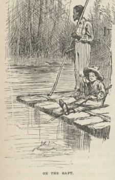 The Adventures of Huckleberry Finn: Huckleberry Finn and Jim, on their raft, from the 1884 edition, that copied from English Wikipedia.  Source: Project Gutenberg