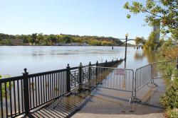 Walking path, east of Eagle Street, closed due to high water: In 2010, the river crested at 18.38'. This year, there's a 95% chance we'll hit 17', and a 48% chance we'll break the 1965 record at 26.4'.