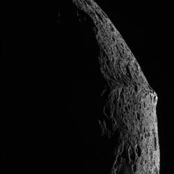 Image of Iapetus from September 10, 2007 fly by: A nice shot of the equatorial ridge.  Image courtesy NASA/JPL/Space Science Institute.