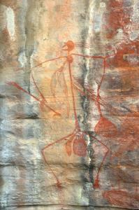 Example of ochre cave painting in Kakadu National Park, Northern Australia: Photo courtesy Wikipedia (User: PanBK)