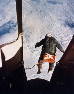 I would so not do this: Joseph Kittinger jumps out of the Excelsior III balloon at 102,800 feet.