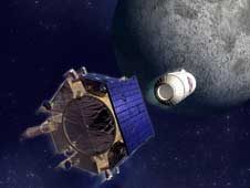 LCROSS: Centaur rocket separating from the shepherding spacecraft upon final approach of the moon.