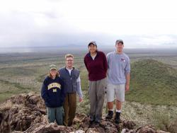 Members of Huxman's field crew take a hike in the Arizona winter.