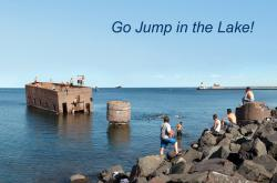 Lake Superior Day: Swimmers enjoy the waters of Lake Superior in Duluth, Minnesota's Canal Park.